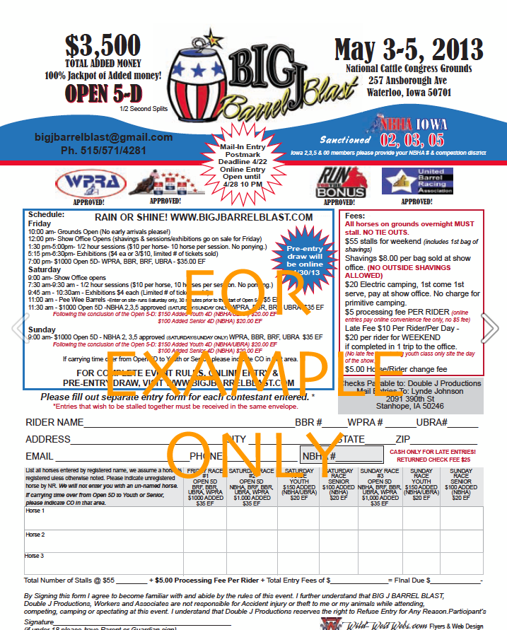 big j barrel blast entry forms